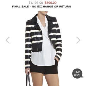 BCBG Black & White leather jacket